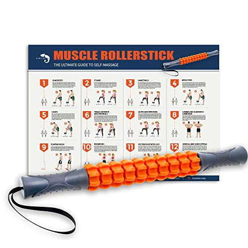 (Kamileo Muscle Roller, Massage Roller for Relieving Muscle Soreness Cramping Tightness, Help Legs Back Joints Recovery (Workout Poster Included).)