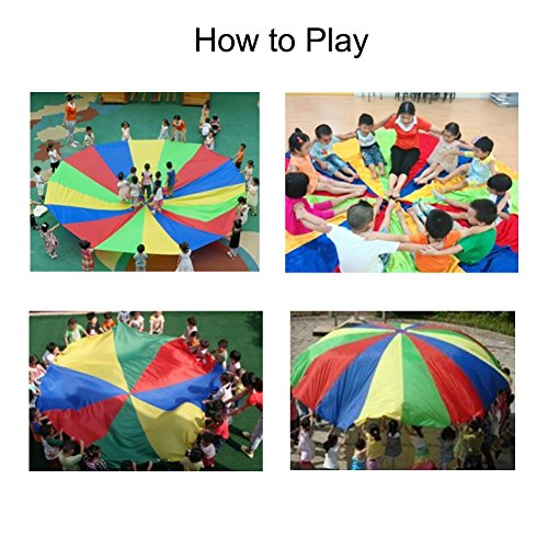 Erlsig 6 Foot Multicolored Play Parachute for Kids with 8 Handles Outdoor Camping Tent Picnic Mat Cooperative Games Birthday Gift with Bags for 3-8 Year Kids by Erlsig (Image #3)