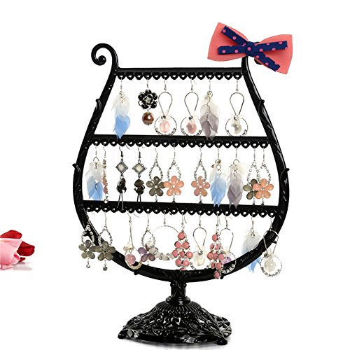 Jewelry Stand, Botitu 12.6 inch Revolving Necklace Holder with 3 Tier and 56 Hooks Jewelry Display for Girls and Women, for Hanging Bracelets, Hair Accessories and Earring Organizer Tree(Black)