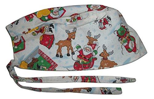 Scrub Hat Santa Claus Reindeer Christmas Holiday Fabric Nurse Cap Do-Rag