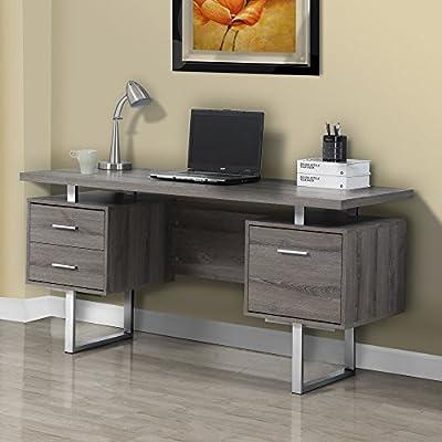 Monarch Specialties Dark Taupe Reclaimed-Look/Silver Metal Office Desk, 60-Inch