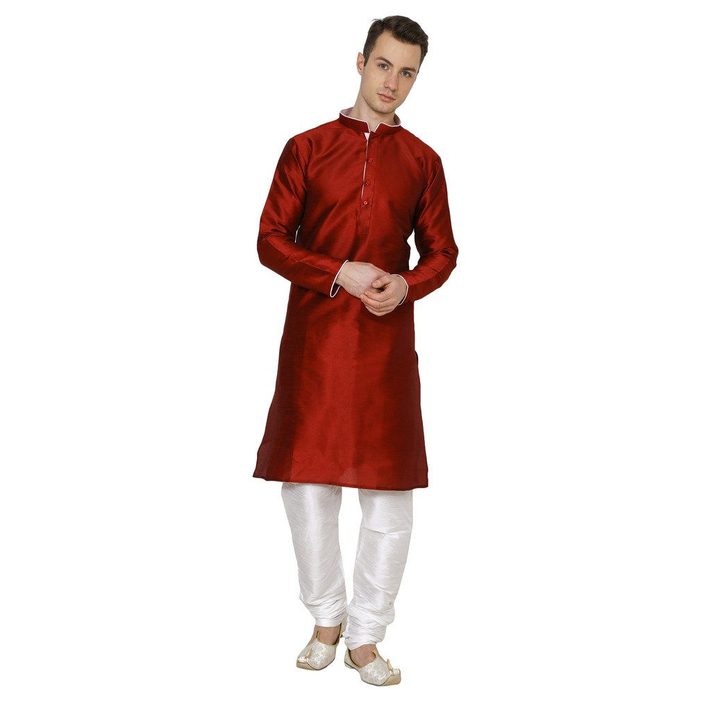 Royal Kurta Men's Dupion Silk Kurta Pyjama Set 702-DORI-MAROON