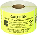 Tape Logic DL9201 Anti Static Label, Legend''Computer Material Enclosed'' with Graphic, 5'' Length x 3'' Width, Black on Yellow (Roll of 500)