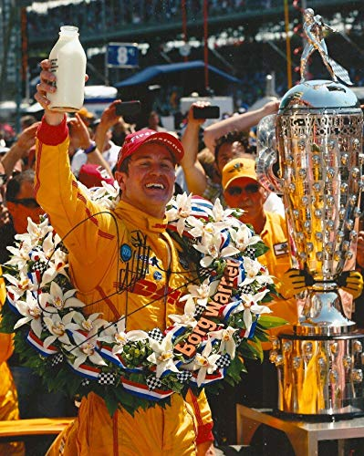 Autographed Ryan Hunter Photo - REAY 8x10 INDY 500 TROPHY MILK IRL INDY COA - Autographed College Photos ()