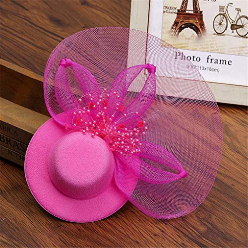 (Women Girls Party Prom Shiny Hair Clip Fascinator Hat Feathered Flower Elegant Hair Barrettes rose red)
