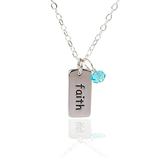 amazon com efy tal jewelry sterling silver tag faith necklace with