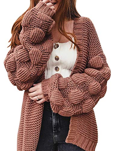 Yacooh Womens Open Front Knitted Casual Long Sleeve Solid Color Pompom Loose Cardigan Tops