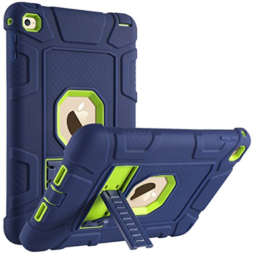 ULAK iPad Mini 4 Case, Hybrid Shockproof Kickstand Case for Kids Heavy Duty Rugged Drop Proof Protective Bumper Cover for iPad Mini 4 7.9 inch 2015 Released, (Navy Blue+Lime Green)