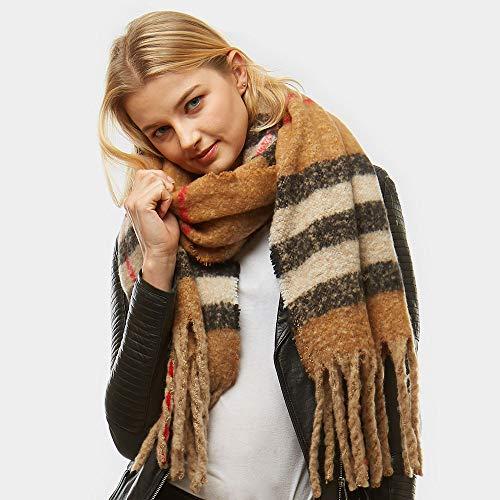 Amtal Women Multi Color Fuzzy Oblong Plaid Block Oblong Blanket Scarf W/Tassels