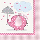Pink Elephant Girl Baby Shower Napkins, 16ct