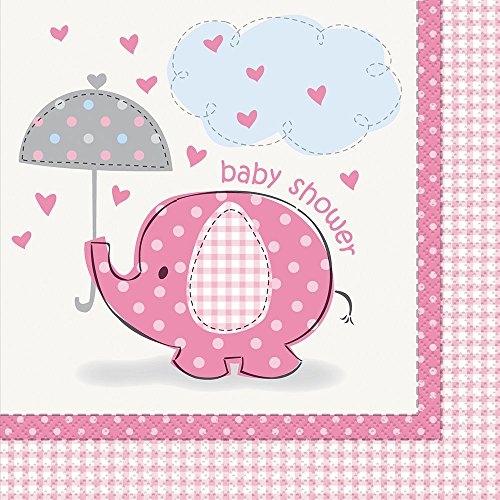 Pink Elephant Girl Baby Shower Napkins, 16ct for $<!--$5.25-->