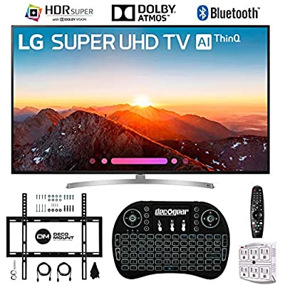 "LG 75SK8070PUA 75"" 4K HDR Smart LED AI Super UHD TV w/ThinQ with 2.4GHz Wireless Backlit Keyboard, Slim Wall Mount Kit Ultimate Bundle and 750 Joule Surge Protector (2018 Model)"