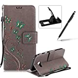 Strap Case for Samsung Galaxy A5 2017,Smart Leather Cover for Samsung Galaxy A5 2017,Herzzer Stylish Butterfly Flower Design Wallet Folio Case Full Body PU Leather Protective Stand Cover with Inner Soft Silicone Shell for Samsung Galaxy A5 2017 + 1 x Free Black Cellphone Kickstand + 1 x Free Black Stylus Pen - Gray