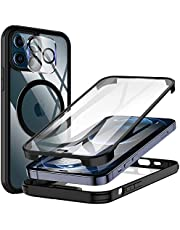 KKM Tempered Glass Case Designed for iPhone 12 Pro Max 6.7-inch Case, with Camera Lens Protector, Compatible with Magnetic Charger, Shockproof Bumper, Full Body Protective Phone Cover -Black