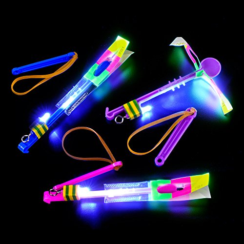 Dozen Light Up LED Slingshot Style Flying Helicopter Toy