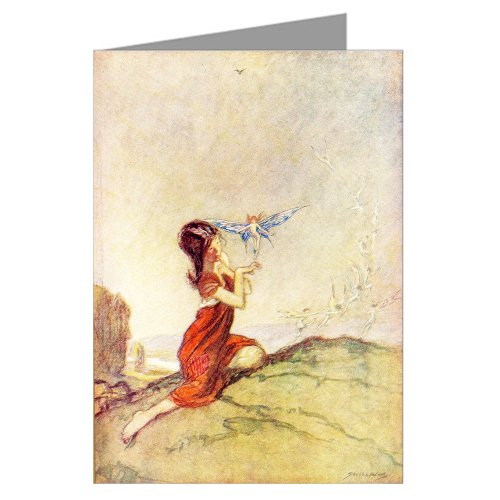 Price comparison product image SINGLE Vintage Greeting Card of this Illustration From Princess_Mary Gift Book_A Spell for a fairy-Claude Shepperson-1912
