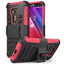 Zenfone 2 Laser Case, MoKo Shock Absorbing Hard Cover Ultra Protective Heavy Duty Case with Holster Belt Clip + Built-in Kickstand for ASUS Zenfone 2 Laser (ZE550KL / ZE551KL) 5.5 Inch - Red