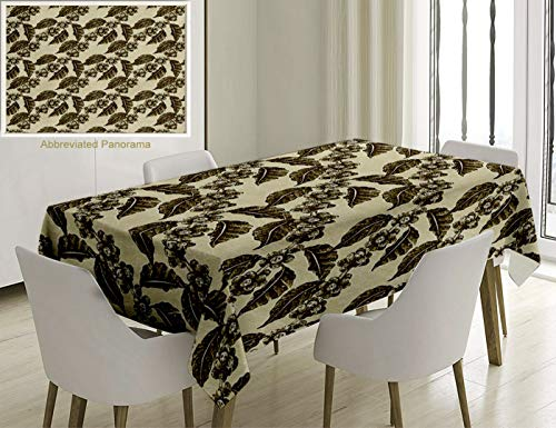 Unique Custom Cotton and Linen Blend Tablecloth Nature Decor Classic Country Style Like Design Grape Vineyard Flowers with Ivy Leaves SketchTablecovers for Rectangle Tables, Small Size 48 x 24 -