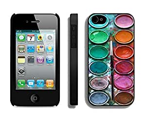 Watercolor Sets with Brushes Iphone 4 4s Case Black Cover
