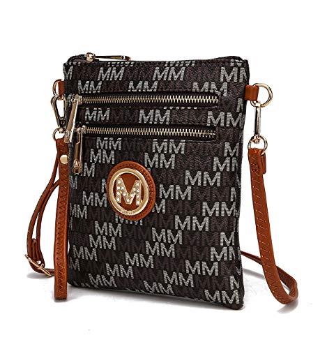 MKF Crossbody Purse for women - Removable Adjustable Strap - Vegan leather wristlet Designer messenger bag Brown ()