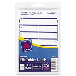 Avery Print or Write File Folder Labels for Laser and Inkjet Printers, 1/3 Cut, Dark Blue, Pack of 252 (5200)