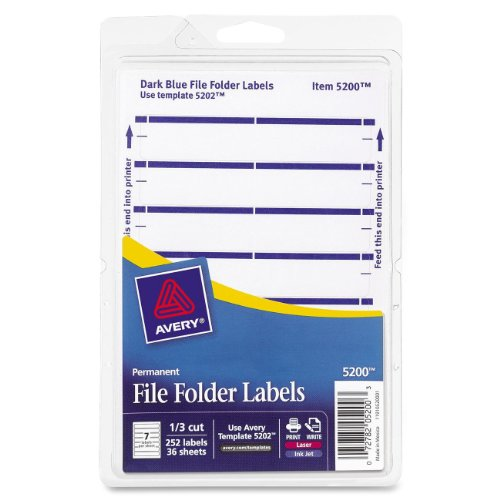 Filing Template Label - Avery Print or Write File Folder Labels for Laser and Inkjet Printers, 1/3 Cut, Dark Blue, Pack of 252 (5200)
