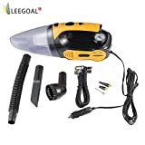 Leegoal Car Vacuum, Potable Car Vacuum Cleaner,Mini Handheld Wet/Dry Auto Vacuum Cleaner with 12V 120W Strong Suction, Tire Inflator,Tire Pressure Gauge,16.4FT(5M) Power Cord,LED Light