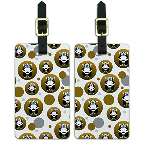 Luggage Suitcase Carry-On ID Tags Set of 2 - Geometric Animals - Badger Black and White Honey ()