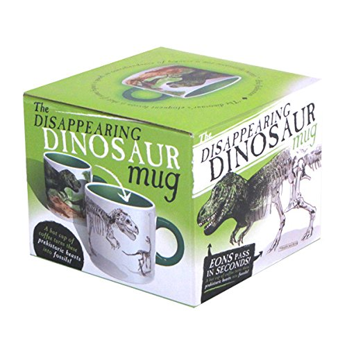 The Unemployed Philosophers Guild Disappearing Dino Mug – Heat Sensitive Color Changing Coffee Mug – Add Hot Liquid and…