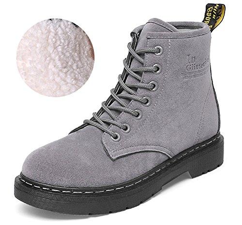 Cystyle Warm Gefütterte Stiefel Damen Schnürstiefeletten Worker Boots Block Absatz Stiefeletten Grau-Samt