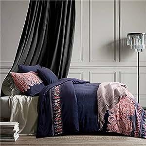 Leamat 5pc Luxury 100% Egyptian Cotton Duvet Cover Set (Blue, Queen)