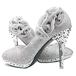 Rose Flower Crystal Glitter Shoes