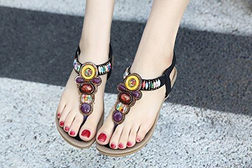 Ruiren Round Peep Toe Bead Elastic Bohemian Sandals for Women, Summer Beach Post Sandals Flip Flops Flat Shoes for Ladies Black
