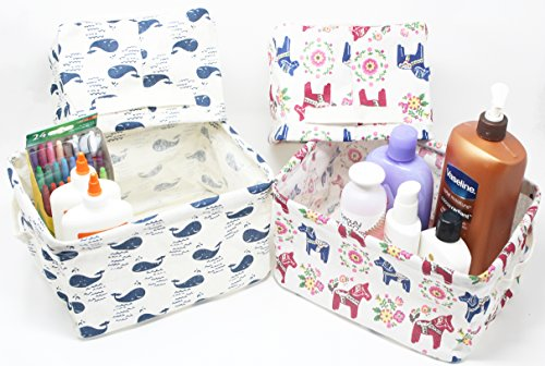 Set of 4 Fabric Storage Units, Storage Baskets, Storage Bins, Storage Containers, Desk Organizer, Makeup Holder, Bathroom Storage, Craft Box