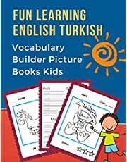 Fun Learning English Turkish Vocabulary Builder Picture Books Kids: First bilingual basic animals words card games. Frequency visual dictionary with reading, tracing, writing workbook and coloring flash cards. Learn new language for children to beginners.