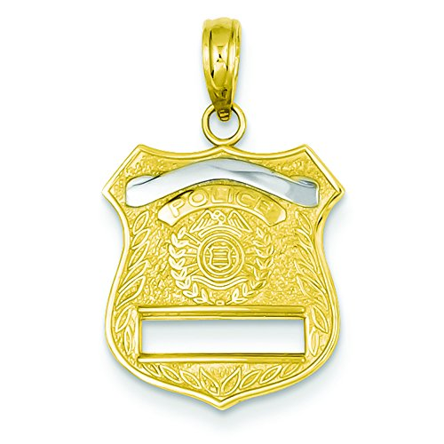 - Pendants Career and Profession Charms 14K Two-Tone Gold Police Badge Charm Pendant