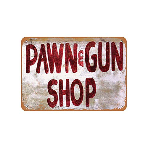 Fhdang Decor Vintage Pattern Pawn & Gun Shop Vintage Look Aluminum Sign Metal Sign,6x9 Inches