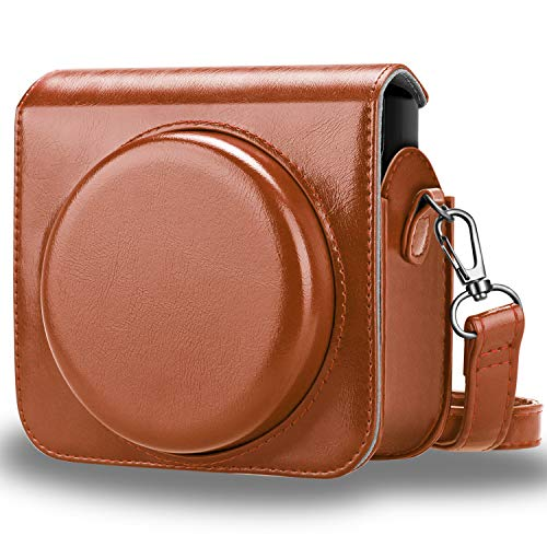Fintie Protective Case Compatible with Fujifilm Instax Square SQ6 Instant Film Camera - Premium PU Leather Bag Cover with Removable/Adjustable Strap, Brown