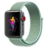 INTENY Sport Band Compatible for Apple Watch 42mm, Breathable Nylon Sport Loop, Strap Compatible for iWatch Series 3, Series 2, Series 1 (Marine Green, 42mm)