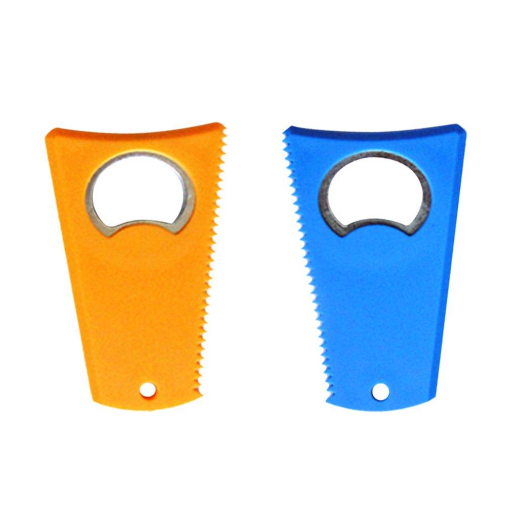 Non-brand 2 Pezzi Durevole Tavola Da Surf SUP Cera Pettine Oulito Remover Strumento 8 x 5cm - Arancio blu