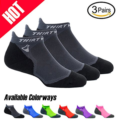 Thirty 48 Ultralight Athletic Running Socks for Men and Women with Seamless Toe, Moisture Wicking, Cushion Padding (Medium – Women 7-8.5//Men 8-9.5, [3 Pairs] Black/Gray)