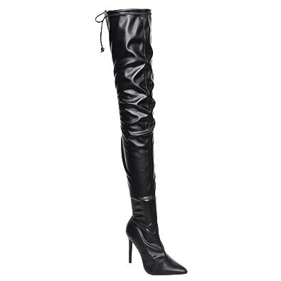 835edb9e6aa Liliana GE32 Women s Pointy Toe Drawstring Thigh High Stiletto Boots