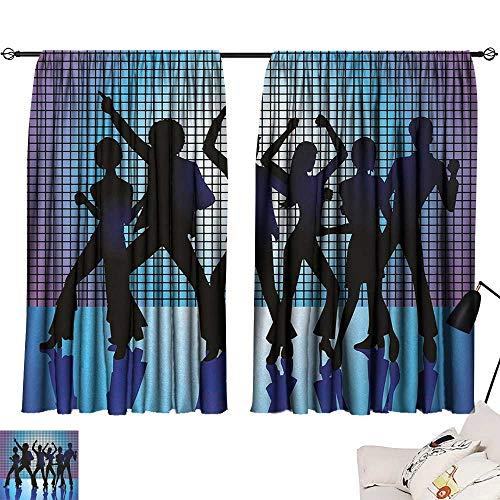 Jinguizi 70s Party Drapes/Draperies Silhouettes of Couples Dancing in Night Club Energetic Classic Art Print Family Darkening Curtains Aqua Black Purple W55 x L39 by Jinguizi (Image #6)