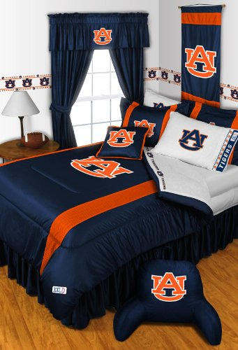 Auburn Tigers 7 PIECE QUEEN BEDDING SET, BED IN A BAG (COMFORTER, FLAT SHEET, FITTED SHEET, 2 - PILLOW CASES, 2 - PILLOW - Set Bed Auburn