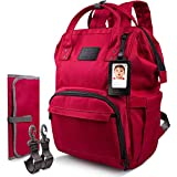 Qipi Diaper Bag - Spacious & Smart Multi-Function Nappy Bag with Built-in Changing Pad & Tissue Dispenser, The Ultimate Waterproof Baby Care Backpack for Moms & Dads - Ruby Red