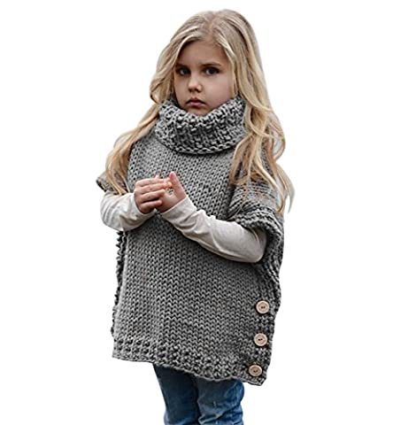 Sumolux Girls Knit Turtleneck Sweater Jumper Vest Sleeveless Cardigan Thick Warm for Autumn Winter - Split Turtleneck Sweater