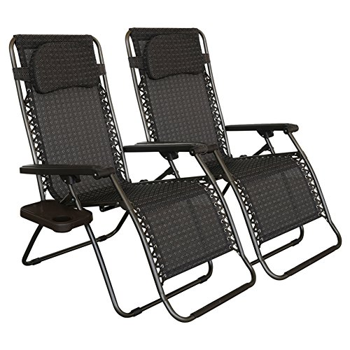Abba Patio Zero Gravity Lounge Chair 2-Pack Oversized Outdoor Patio Chair Adjustable Folding Recliner with Detachable Tray