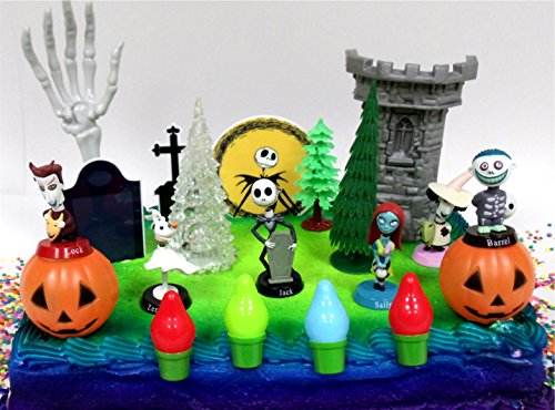 Nightmare Before Christmas 17 Piece Birthday Cake Topper Set Featuring 2″ to 3″ Cake Topper Figures of Lock, Shock, Zero, Jack Skellington, Sally, Barrel and Other Decorative Themed Accessories
