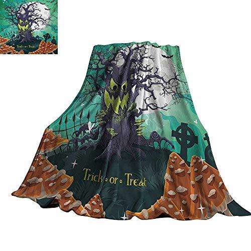 RenteriaDecor Halloween,Bed Blankets Trick or Treat Dead Forest with Spooky Tree Graves Big Kids Cartoon Art Print Custom Blankets 60
