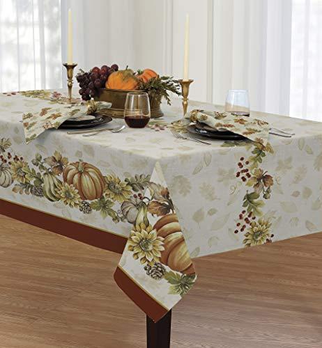 Newbridge Brilliant Autumn Double Border Thanksgiving Fabric Napkin Set, Fall Harvest Floral Napkins, Set of 8 Fabric Napkins by Newbridge